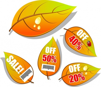 autumn sale tags templates leaf shapes design