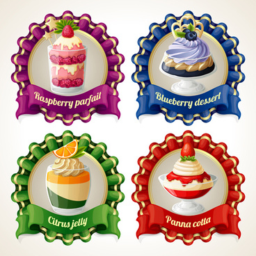 beautiful food ribbon labels vector set