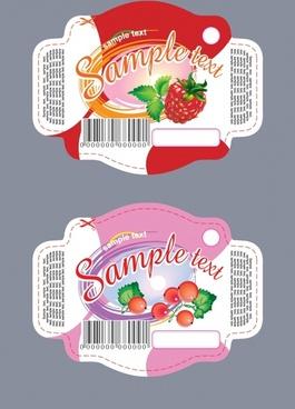 yoghurt label templates fruits icons decor modern design