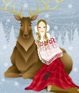 beautiful girl and deer vector
