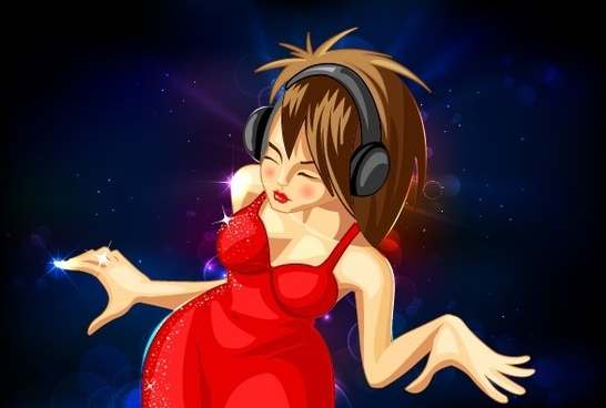 beautiful girl and music design vector