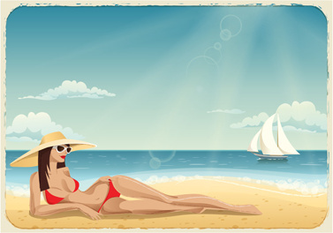 beautiful girl travel background vector
