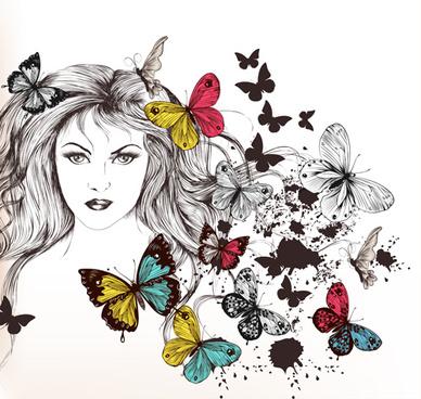 beautiful girl with butterflies design vector
