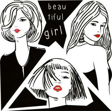 beautiful girls background black white handdrawn sketch