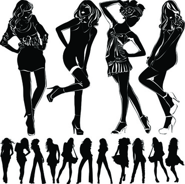 beautiful girls silhouette design vector