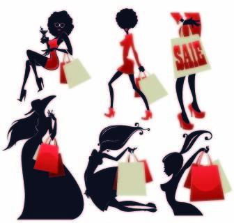 beautiful girls stylish elements vector