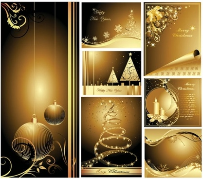 beautiful gold christmas cards vector