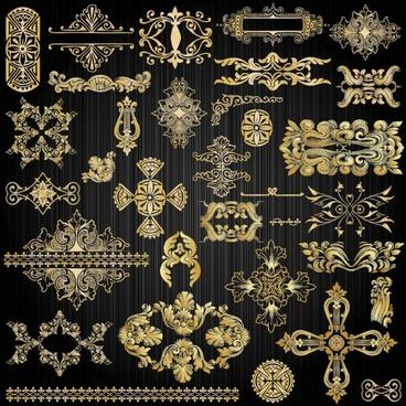 beautiful gold pattern 02 vector