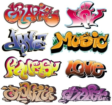 beautiful graffiti font design 03 vector