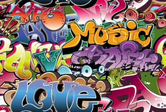 beautiful graffiti font design 04 vector