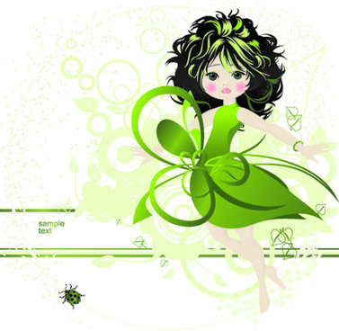 beautiful green dress girl vector background