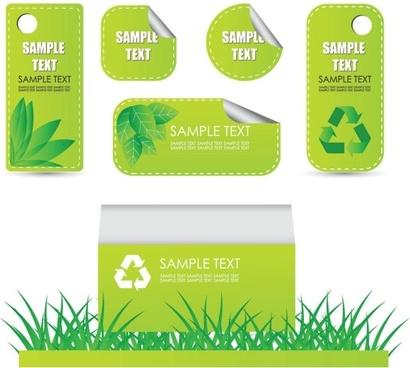 beautiful green label 02 vector