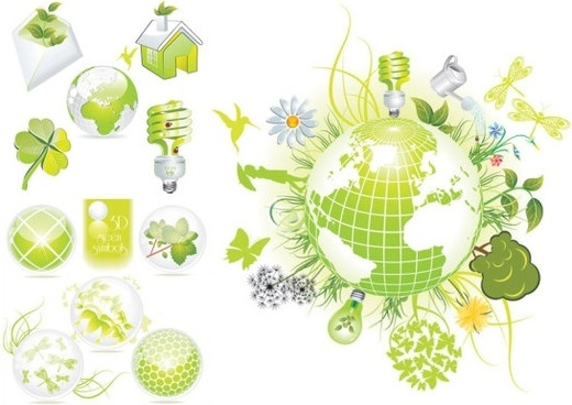 beautiful green theme icon vector