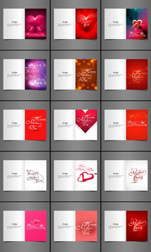 beautiful greeting card collection set colorful happy mothers day presentation vector