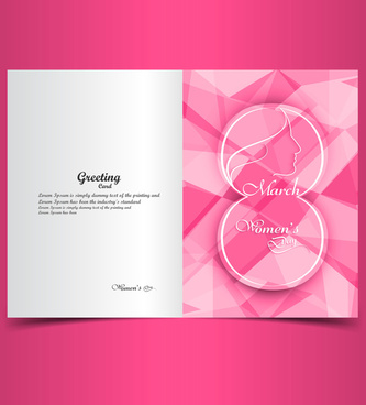 beautiful greeting card or happy womens day colorful holiday polygon texture vector illustration