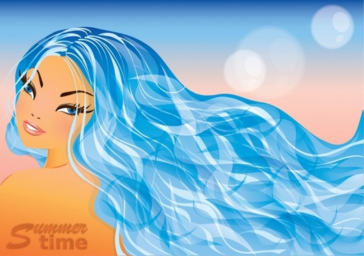 beautiful hair vector lines