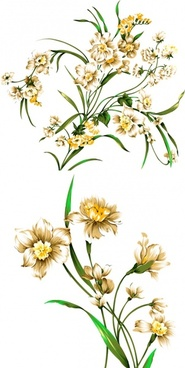 beautiful handdrawn style daffodils psd layered