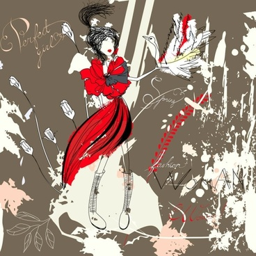 beautiful handpainted fashion illustrator 04 vector