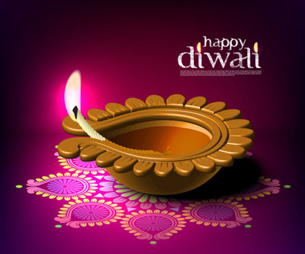 beautiful happy diwali backgrounds vector
