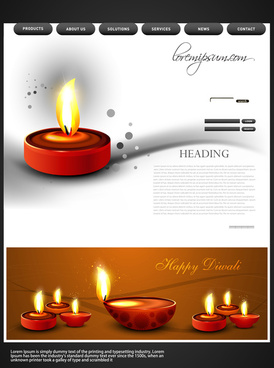 beautiful happy diwali colorful hindu festival website template background vector