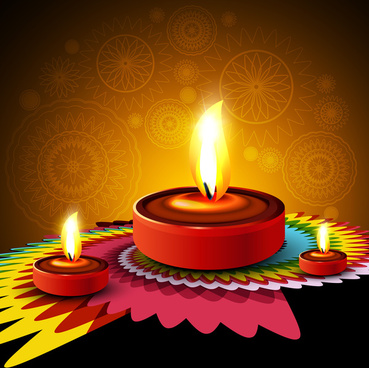 beautiful happy diwali diya rangoli hindu festival design background