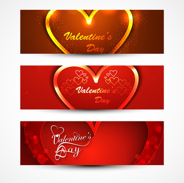 beautiful header colorful for valentines day heart banners set love website vector