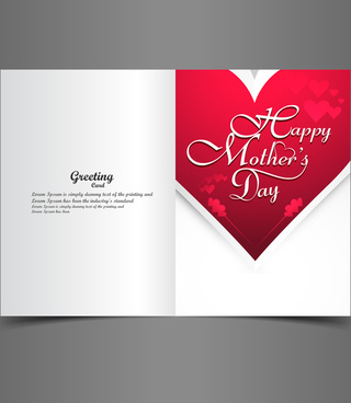 beautiful heart concept mothers day greeting card vector