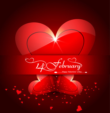 beautiful heart stylish text design for happy valentines day colorful card background