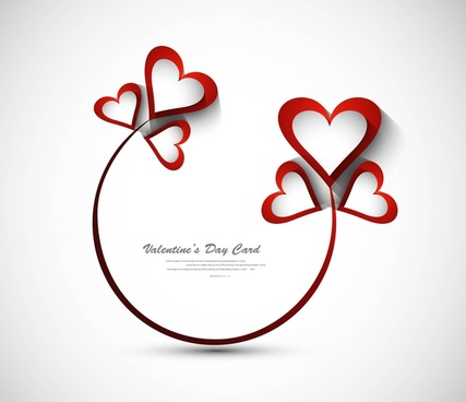 beautiful heart stylish text valentines day card design