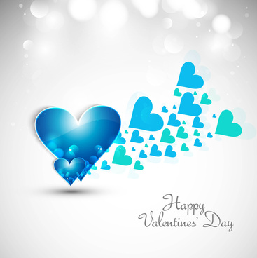 beautiful hearts for happy valentines day card fantastic background vector
