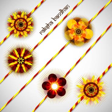 beautiful hindu rakhi collection colorful presentation vector