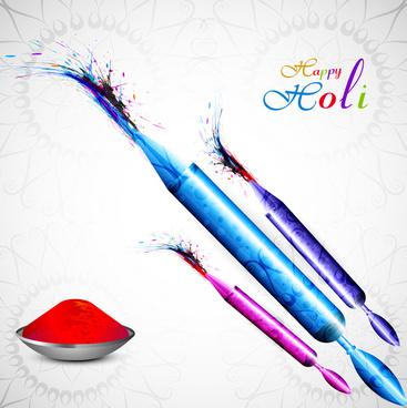 beautiful holi pichkari colorful festival vector background illustration