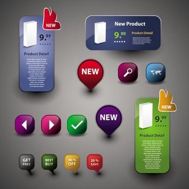 beautiful icon button 01 vector