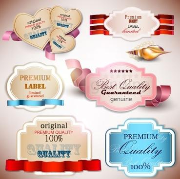 beautiful label design 03 vector