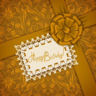 beautiful lace and bow birthday cards vector