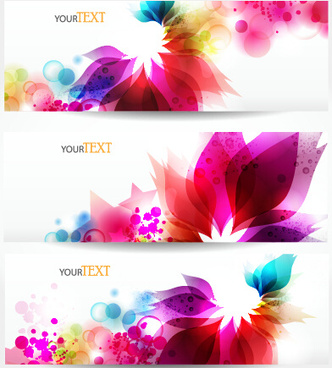 beautiful multicolor floral vector banners