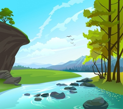 beautiful natural landscape vector