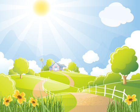 beautiful natural scenery and sun vector