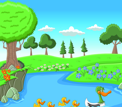 beautiful nature landscape lake vector graphics