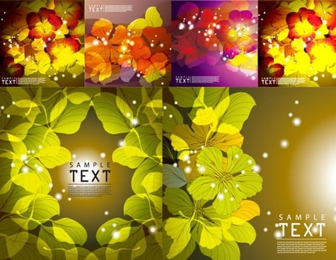nature background templates bright modern sparkling leaves decor