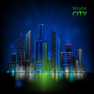 beautiful night city vector