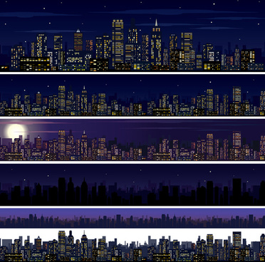 beautiful night city vector graphics
