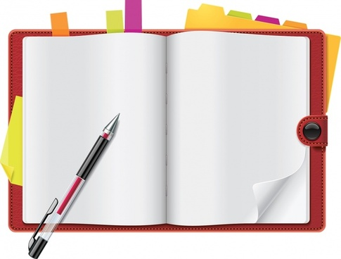 notebook icon modern colored realistic sketch