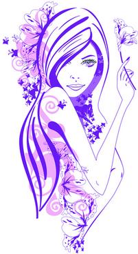 beautiful of fashion girls vector graphic