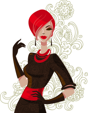 beautiful of fashion girls vector graphic