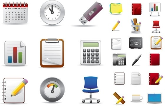 Beautiful office icons vector