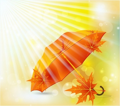 beautiful orange maple leaf umbrella vector