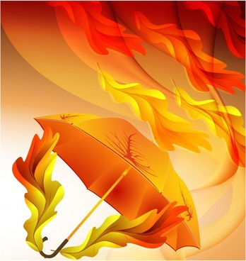 beautiful orange maple leaf veins umbrella vector