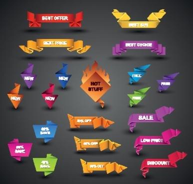 beautiful origami graphics 02 vector