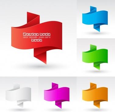 decorative origami templates colored modern design 3d sketch